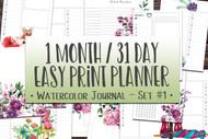 Printable Planner: Watercolor Planner Series Easy Print Planner #1 - 31 Day Printable Planner Book PDF