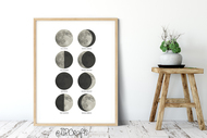 Phases of the Moon Wall Art - moon phases wall art - PDF, JPG, PNG