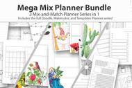 Digital Planner Bundle - Mega Mix Planner Bundle - 3 in 1 - watercolor planner pages, coloring planner, plus extra templates to mix in