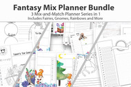 Digital Planner Bundle - Fantasy Mix Planner Bundle - 3 in 1 - watercolor planner pages, coloring planner, plus extra templates to mix in