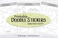 Doodle Sticker Bundle 1 - Printable by the page stickers with doodles to color in for scrapbooks and planners - digital stickers - coloring