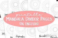 NEW! Coloring pages Month Dividers- Printable Monthly Divider Inserts with mandala style coloring designs - in English