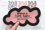 Whimsical Frames with Matching Mats digital design bundle - 12 frames with mats - for scrapbooking, crafts, making signs & more