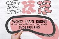 Wonky Frames with Matching Mats digital design bundle - 6 frames with mats - for scrapbooking, crafts, making signs & more