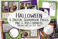 Halloween Digital Scrapbook Pages -  set of 6 Halloween themed digital scrapbook pages in PSD and PNG formats