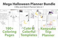 Mega Mix Halloween Planner Bundle - Printable Planner Inserts - Daily, Weekly & Monthly Planner, Trackers, Travel Planner + Coloring pages