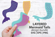 Mermaid Tails svg, eps, png digital design bundle - 3 mermaid tail designs - 2 layers each