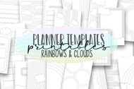 Printable Planner inserts - Rainbows & Clouds Planner Templates - Daily, Weekly and Monthly templates for print or use in digital planners