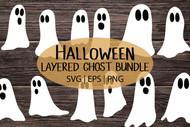 Ghost svg bundle - Halloween svg digital design bundle - Layered 3d ghost paper cut files to cut out plus png clip art