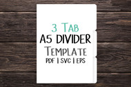 A5 size 3 tab Digital Divider Template - Print & Cut set of 148 mm x 210mm divider tabs - blank divider template in png, svg, pdf, eps, dxf