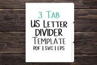 """US Letter 3 tab Digital Divider Template - Print & Cut set of 8.5"""" x 11"""" divider tabs - blank divider template in png, svg, pdf, eps, dxf"""