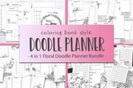 Floral Doodle Planner Mega Bundle - 4 different Floral Doodle Planner Sets in 1