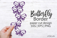 Butterfly Digital Design #11- clip art and paper cut digital design - lacy butterfly border graphic - illustration