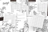 DIY Budget Planner 12 page printable planner with Floral Doodles to color in / DIY Budget Binder / Floral Doodle Planner Volume 4