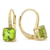 2.08ct Cushion Cut Peridot & Round Cut Diamond Leverback Drop Earrings in 14k Yellow Gold