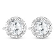 1.41ct Round Cut White Topaz & Diamond Halo Martini Stud Earrings in 14k White Gold