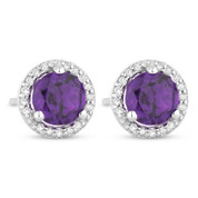 1.01ct Round Cut Amethyst & Diamond Halo Martini Stud Earrings in 14k White Gold