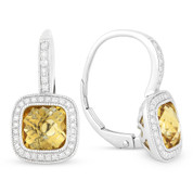 3.22ct Checkerboard Citrine & Round Cut Diamond Halo Leverback Drop Earrings in 14k White Gold