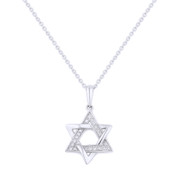 0.06ct Round Cut Diamond Star of David Pendant in 14k White Gold w/ Chain Necklace