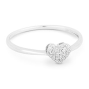 0.08ct Round Cut Diamond Pave Heart Charm Right-Hand Promise Ring in 14k White Gold