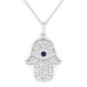 0.09ct Round Cut Diamond & Sapphire Hamsa Hand Evil Eye Charm Pendant in 14k White Gold w/ Chain Necklace