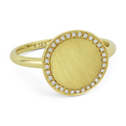 0.10ct Round Cut Diamond Brushed-Finish Curved Centerpiece Right-Hand Fashion Ring in 14k Yellow Gold