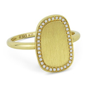 0.11ct Round Cut Diamond Brushed-Finish Curved Centerpiece Right-Hand Fashion Ring in 14k Yellow Gold