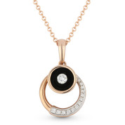 0.13ct Round Cut Diamond Circle & Black Enamel Bezel Pendant & Chain Necklace in 14k Rose Gold
