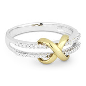 0.13ct Diamond Infinity Charm Right-Hand Ring in Two-Tone 14k White & Yellow Gold