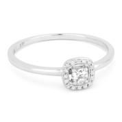 0.13ct Round Cut White Topaz & Diamond Square-Halo Promise Ring in 14k White Gold