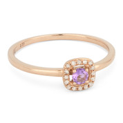 0.14ct Round Pink Amethyst & Diamond Square-Halo Promise Ring in 14k Rose Gold