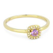 0.16ct Round Cut Pink Amethyst & Diamond Square-Halo Promise Ring in 14k Yellow Gold
