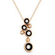 0.17ct Round Brilliant Cut Diamond Multi-Circle Enamel-Coated Scoop Bezel Pendant & Chain Necklace in 14k Rose Gold