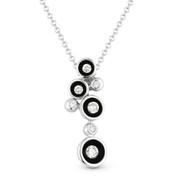 0.17ct Round Brilliant Cut Diamond Multi-Circle Enamel-Coated Scoop Bezel Pendant & Chain Necklace in 14k White Gold