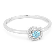 0.19ct Round Cut Blue Topaz & Diamond Square-Halo Promise Ring in 14k White Gold