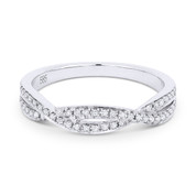 0.19ct Round Cut Diamond Overlap-Swirl Stackable Anniversary Ring / Wedding Band in 14k White Gold