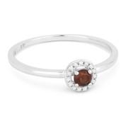 0.20ct Round Cut Garnet & Diamond Circle-Halo Promise Ring in 14k White Gold
