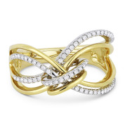 0.22ct Round Cut Diamond Right-Hand Loop & Knot Statement Ring in 14k Yellow & White Gold