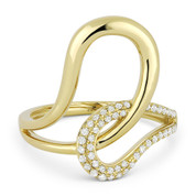 0.22ct Round Cut Diamond Overlap Loop Right-Hand Statement Ring in 14k Yellow Gold