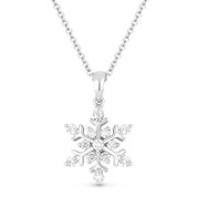0.25ct Round Cut Diamond Snowflake Charm Pendant & Chain Necklace in 14k White Gold