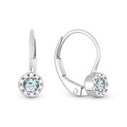 0.27ct Round Cut Blue Topaz & Diamond Leverback Drop Baby Earrings in 14k White Gold