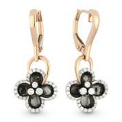 0.28ct Round Brilliant Cut Diamond & Black Enamel Dangling Flower Earrings in 14k Rose & White Gold