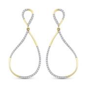 0.28ct Round Cut Diamond Pave Dangling Open Tear-Drop Earrings in 14k Yellow & White Gold