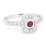 0.28ct Round Cut Ruby & Diamond Pave Antique-Style Right-Hand Flower Ring in 14k White Gold