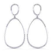 0.28ct Round Cut Diamond Pave Dangling Open Pear-Shape Earrings in 14k White Gold
