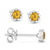 0.28ct Round Cut Citrine & Diamond Pave Baby Stud Earrings in 14k White Gold