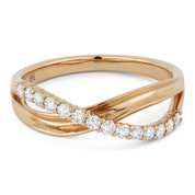 0.30ct Round Cut Diamond Overlap Loop Stackable Right-Hand Ring in 14k Rose Gold
