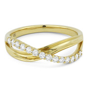 0.30ct Round Cut Diamond Overlap Loop Stackable Right-Hand Ring in 14k Yellow Gold