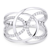 0.31ct Round Cut Diamond Right-Hand Overlap Loop Statement Ring in 14k White Gold