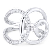 0.33ct Round Cut Diamond Overlap Loop Right-Hand Statement Ring in 14k White Gold